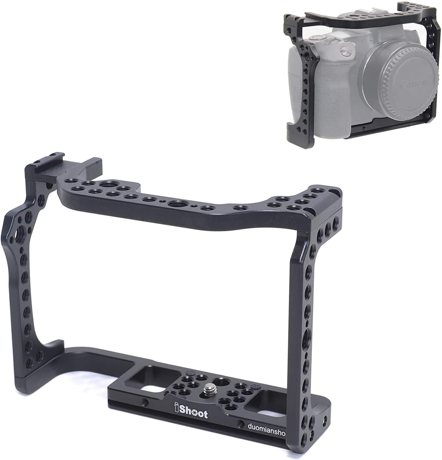 Built-in 1//4 and 3//8 Thread Hole and Arca-Swiss Quick Release Plate iShoot Video Vlogging Camera Cage Stabilizer Compatible with Canon EOS R and Canon EOS RP Mirrorless Digital Camera