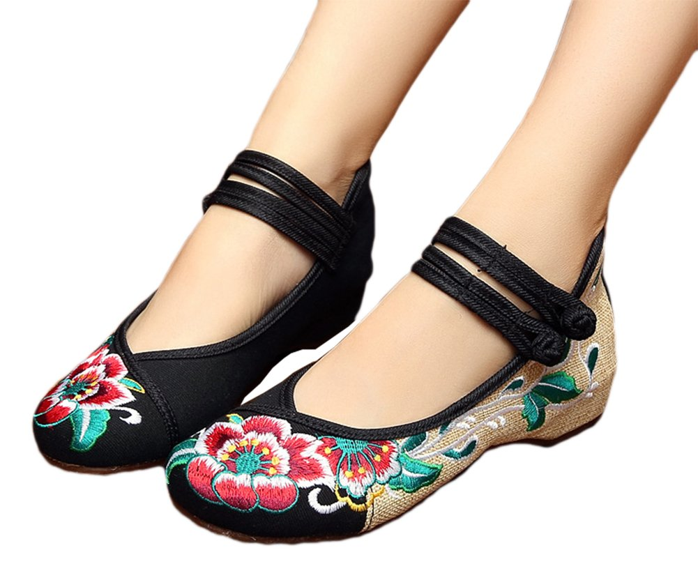 AvaCostume Rubber Sole Lotus Embroidery Flats Mary Jane Shoes for Womens B01EMJM16K 40 M EU|Black