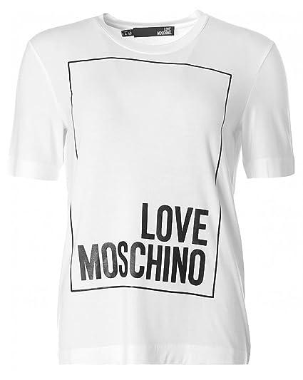 9bc98bff3c91 Love Moschino Box Logo T-Shirt 12 White  Amazon.de  Bekleidung