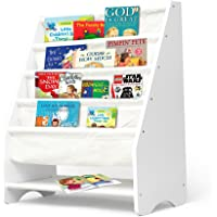 Kids Bookshelf Wooden Magazine Bookcase Storage Display Stand Rack for Children Ivory