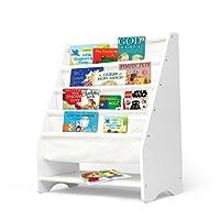 Kids Bookshelf Wooden Magazine Bookcase Storage Display Stand Rack for Children White