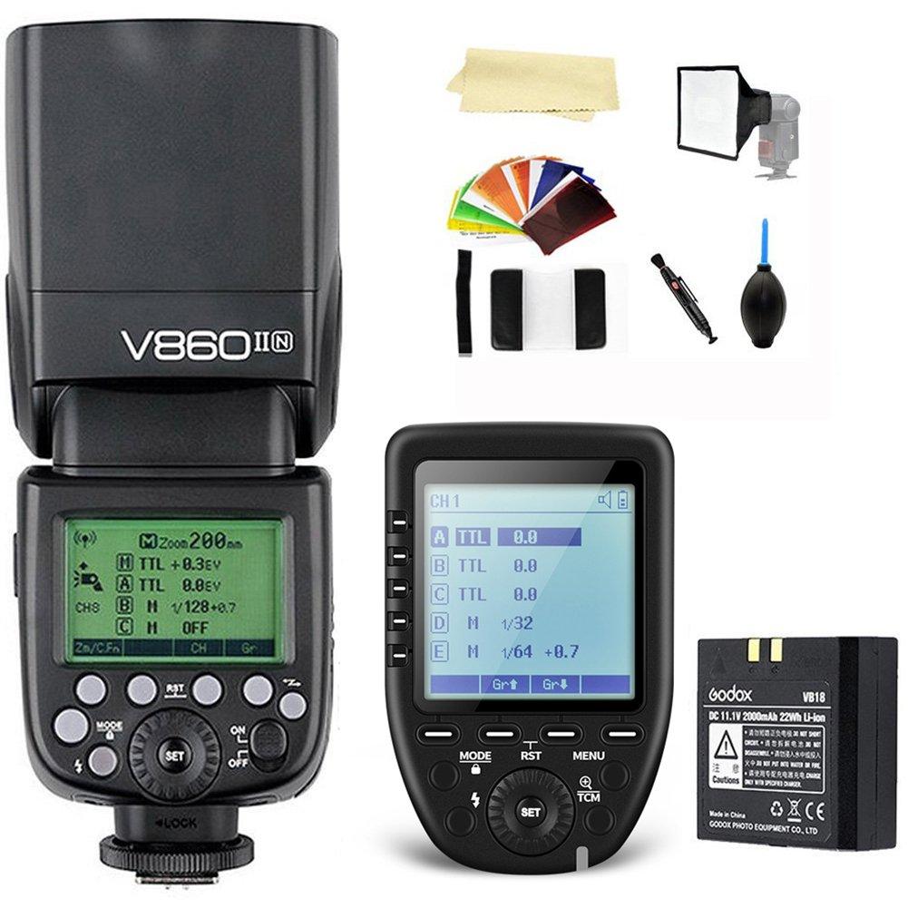 Godox V860II-N i-TTL 2.4G High Speed Sync 1/8000s GN60 Li-ion Battery Camera Flash Speedlite Light Compatible for Nikon Cameras+Godox XPro-N Wireless Flash Trigger Transmitter