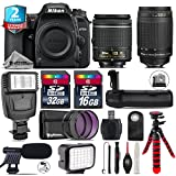 Holiday Saving Bundle for D7500 DSLR Camera + 70-300mm G Lens + AF-P 18-55mm + Battery Grip + Shotgun Microphone + LED Kit + 2yr Extended Warranty + 32GB Class 10 Memory - International Version