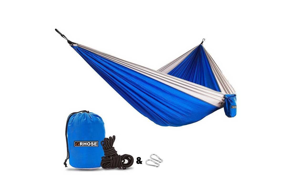 Hammock by Grhose Parachute Hammock For Backpacking, Camping, Travel, Beach, Yard Lightweight Portable Hammock
