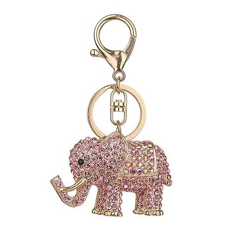 Nowbetter Llavero con Colgante de Elefante de Cristal Bolso ...