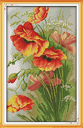(Benway Counted Cross Stitch Beautiful Poppy Flowers 14 Count 35x52cm)