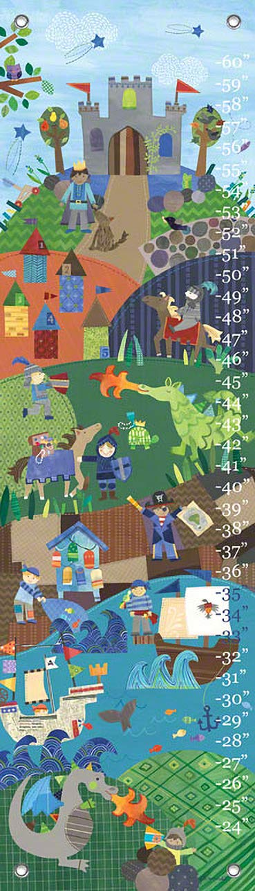 Oopsy Daisy Growth Charts Knights and Dragons by Jill McDonald, 12 by 42-Inch by Oopsy Daisy