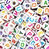 Goodlucky 800 Pcs Acrylic Letter Beads White Alphabet Beads with Colorful Letters for DIY Bracelets, Necklaces, Children's Educational Toys, Handmade Gift