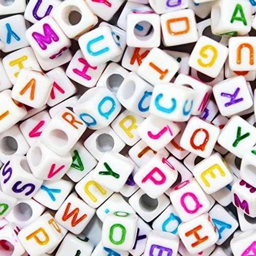 JPSOR 800 Pcs Letter Beads Alphabet Beads for Jewelry Making with Colorful Letters for DIY Bracelets, Necklaces, Educational Toys, Handmade Gift (White Beads with Colorful ()