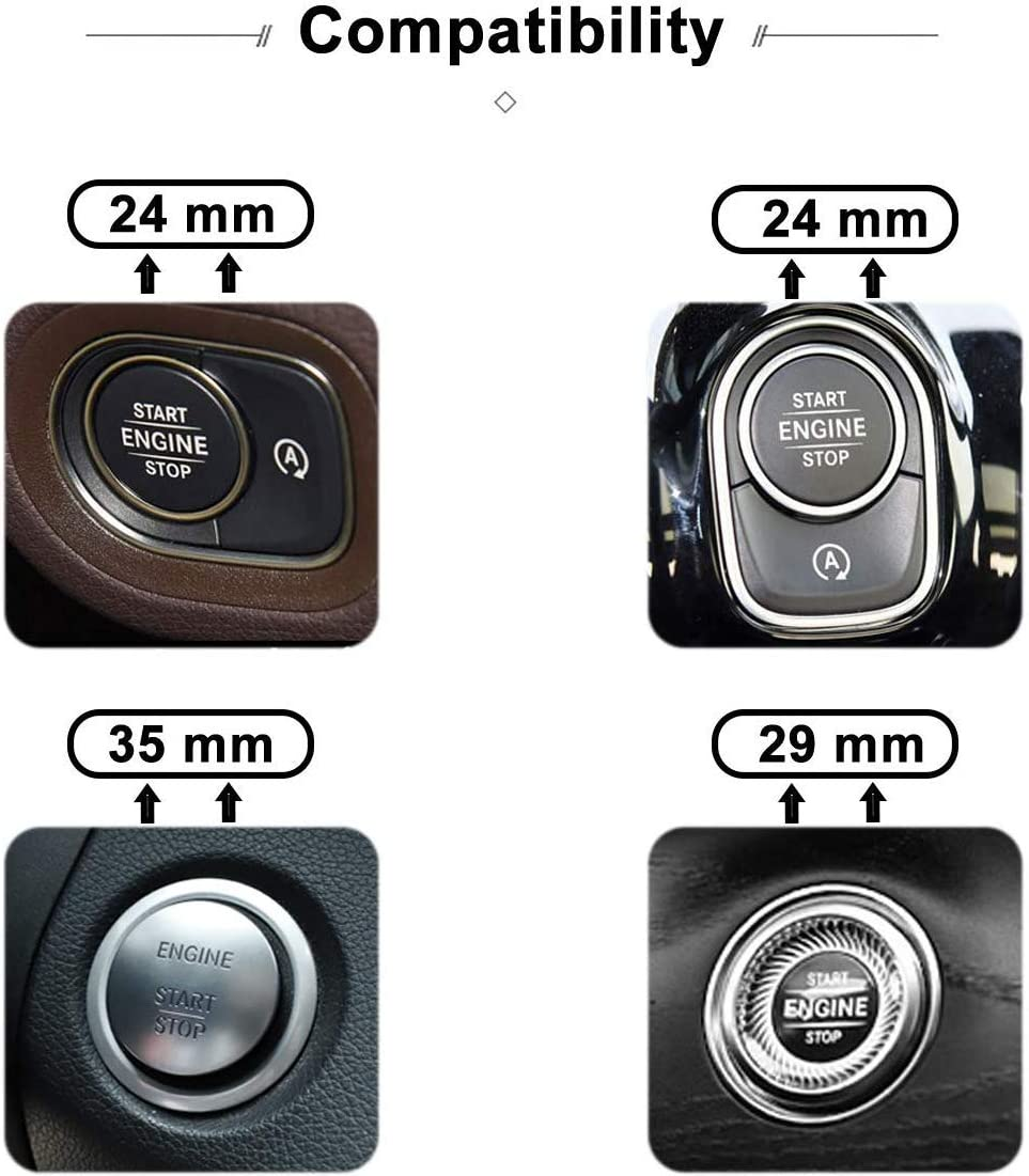 L/&U AMG Interior Auto Start Motor Z/ündung Knopf Schl/üssel Kn/öpfe Abziehbild-Aufkleber-Emblem Zubeh/ör Silber f/ür Mercedes Benz A B E GLK GLA CLA GLE ML GL-Klasse 35mm,Silber