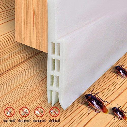 Burlete para puerta de bajo puerta, tira de aislamiento de sonido, a prueba de insectos, 5 cm de ancho x 99 cm de largo,...