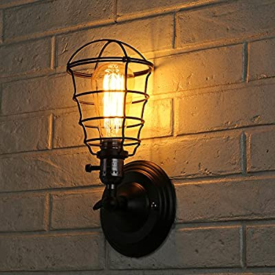 T.Y.S Lighting Vintage Style 1 Light Industrial Wire Cage Wall Sconce