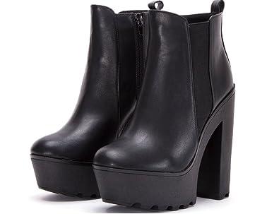 80390bfa3df59 Ladies Womens Black Chunky Cleated Sole Platform Block Heel Biker Chelsea  Zip Ankle Boots (4