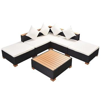 Lingjiushopping Conjunto sofas de jardin 15 piezas poli ...