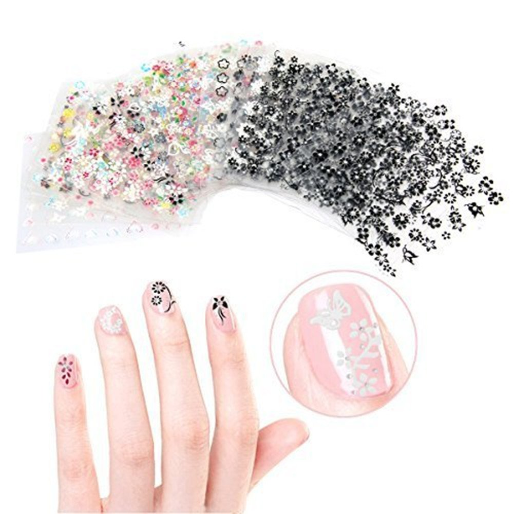 Ambrose - Juego de 20 pegatinas para uñas, 3 cajas de colores para decorar brillantes, 10 hojas de pegatinas 3D, 5 bolígrafos de decoración de uñas, ...