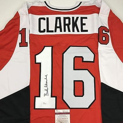 f2f345863 Autographed/Signed Bob Bobby Clarke Philadelphia Orange Hockey Jersey JSA  COA