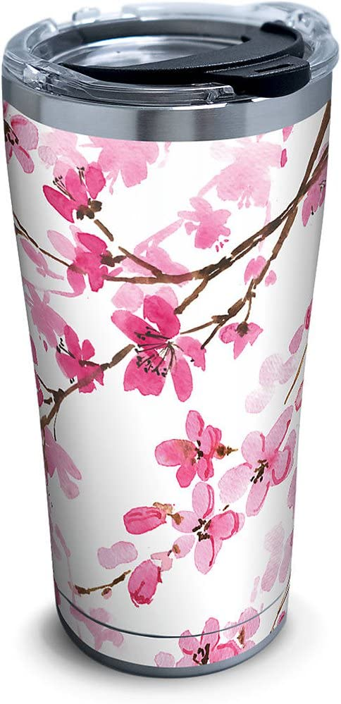 Tervis 1261349 Cherry Blossom Stainless Steel Tumbler with Clear and Black Hammer Lid 20oz, Silver