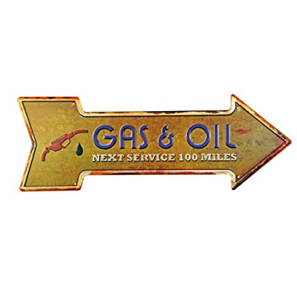 Amazoncom New Deco Gas Oil Metal Tin Sign With Arrow Rustic Retro