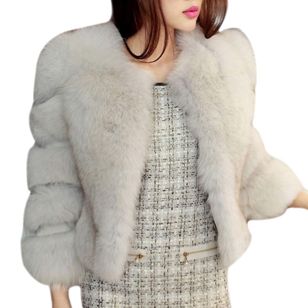 LaoZan Cárdigan Chaqueta Abrigo de Piel Artificial Corto Elegante encantador y Cálido para Invierno
