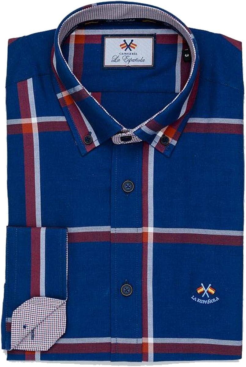 La Española Camisa de Cuadros Grandes Azules y Rojos: Amazon.es: Ropa y accesorios