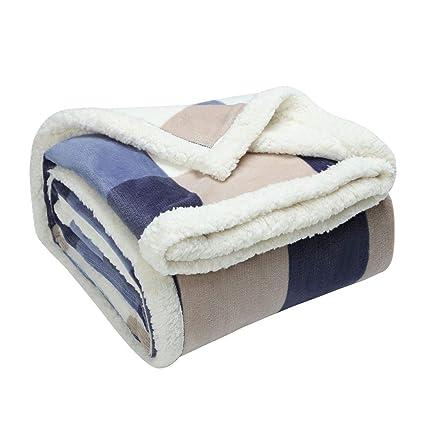 53adadfe49 uxcell Super Soft Warm Fleece Plaid Blanket Fuzzy Plush Flannel Bed  Blankets Twin Size Lightweight Blanket