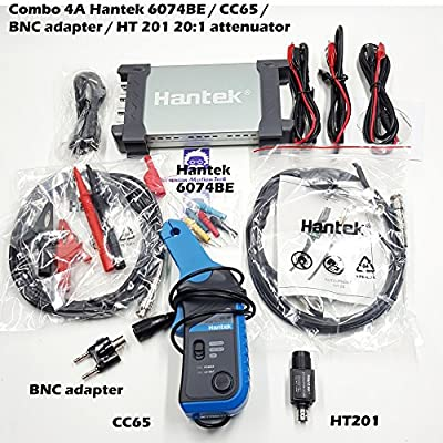 _BMT_ Combo 4A Hantek 6074BE or 6104BE or 6204BE or 6254BE Auto oscilloscope Kit I 1GSa/s 70MHz + 1x CC65 current clamp + 1x BNC to multimeter adapter + 1x HT201 attenuator