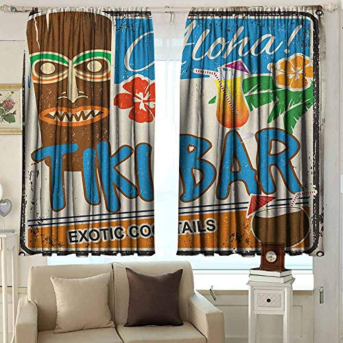 (Black Out Window Curtain Tiki Bar Rusty Vintage Sign Aloha Exotic Cocktails and Coconut Drink Antique Nostalgic Room Darkening, Noise Reducing 72 W x 63 L InchesMulticolor)