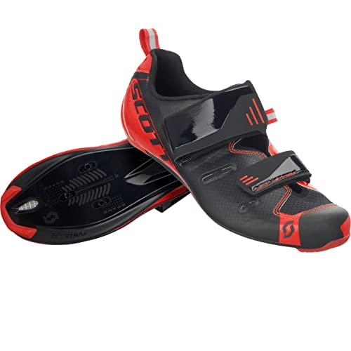 Scott Scott - Zapatillas de Ciclismo para Hombre Negro Black/Neon Red Gloss