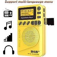 Radio de Poche FM Numérique, Dab FM Radio avec récepteur numérique, Batterie Rechargeable Radio Portable avec Lecteur MP3 (Jaune)