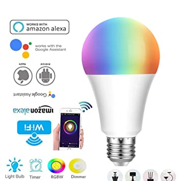 Pet Casa Inteligente Bombilla Led De Control Remoto Inteligente WiFi Alexa Echo Google Home Bombilla De Luz Inteligente De Voz 12W: Amazon.es: Hogar