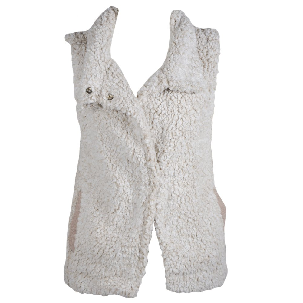 Dylan by True Grit Women's Solid Frosty Tipped Pile Plush Cozy Vest With Pockets, Oatmeal, XL