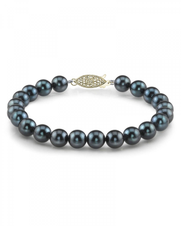 14K Gold 6.0-6.5mm Black Akoya Cultured Pearl Bracelet