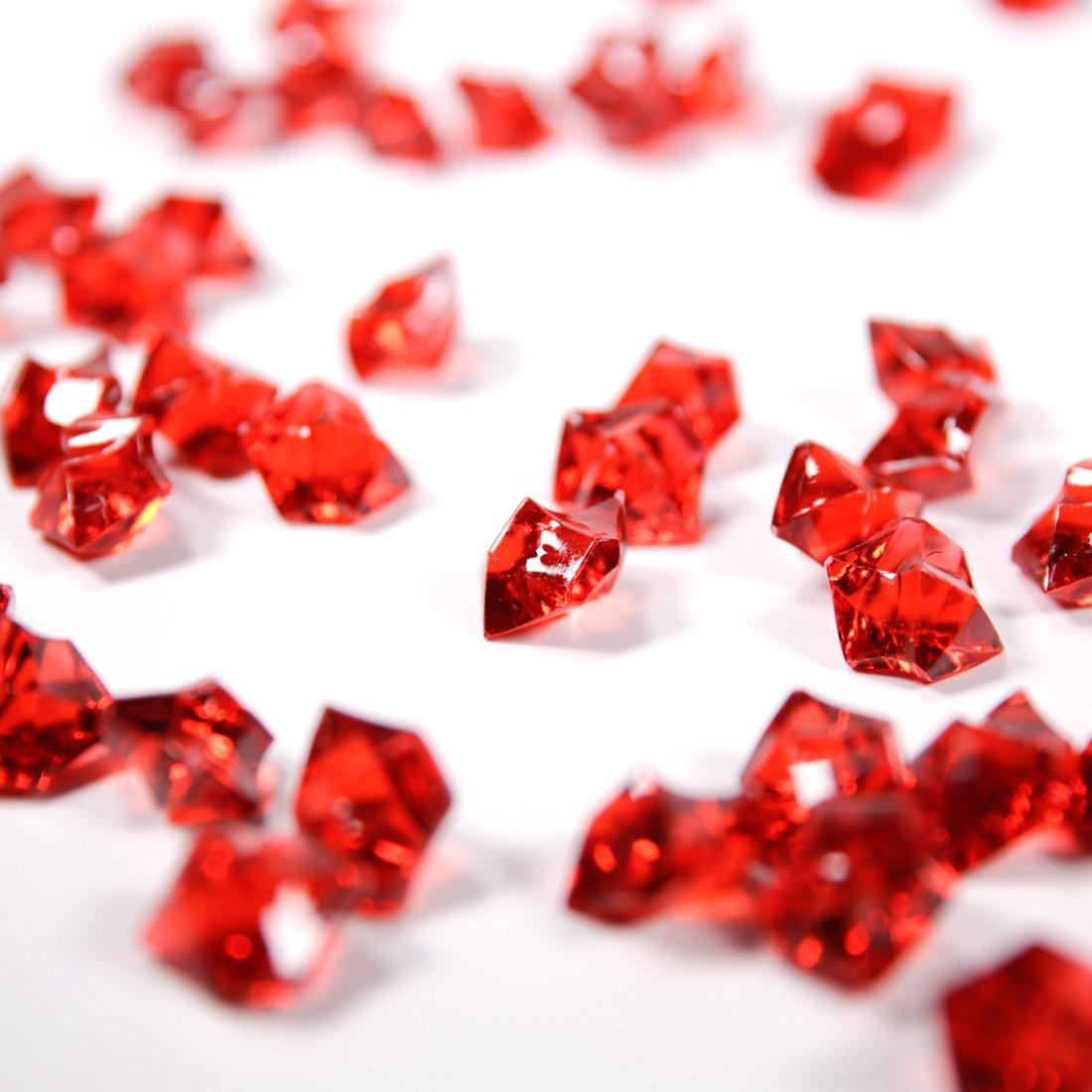 PAUBOLI Acrylic Fake Gems 1.2lbs (200pcs) +$ Money Bag a Set Vase Fillers Wedding Party Decorations Pretend Pirate Treasure Jewels (Ruby Red)