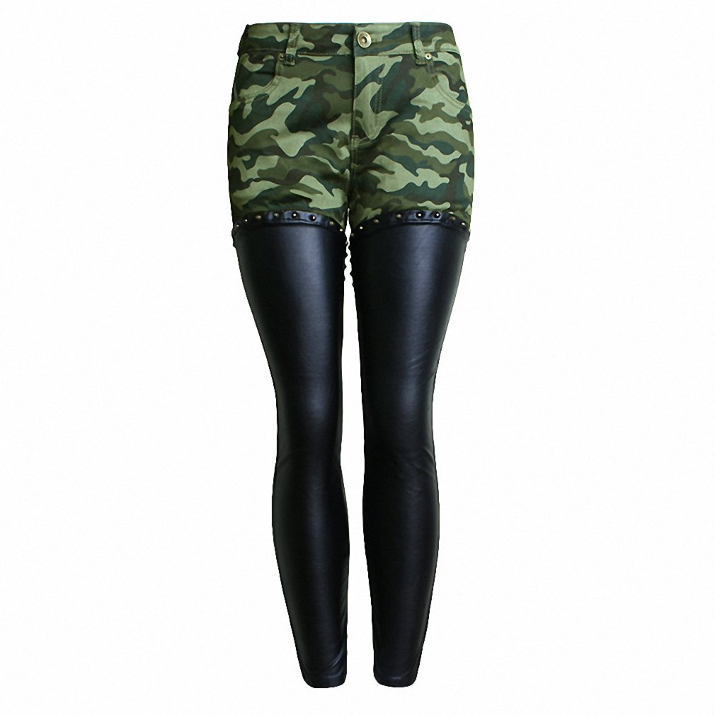 0962654d177c5 Women Camouflage Leather Skinny Jeans Low Rise Rivets and Zippers Detail  Punk Sculpt Butt Lift Jeans Plus Size XXXL - Black -  Amazon.co.uk  Clothing