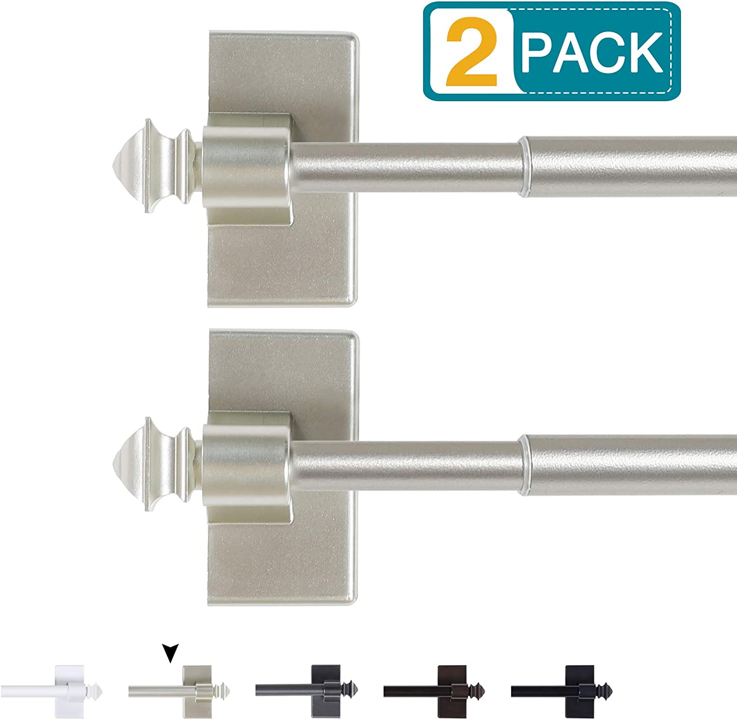 Magnetic Curtain Rods for Metal Doors Multi-Use Adjustable Curtain Rods for Small Windows Cafe Sidelight and Iron Steel Places, 1/2 Inch Diameter, Tool Free (2 Pack, Adjust from 16 to 28 Inch, Nickel)