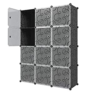 KOUSI Storage Cube Cube Organizer Cube Storage Shelves Cube Shelf Room Organizer Clothes Storage Cubby Shelving Bookshelf Toy Organizer Cabinet, Black with Doors,12 Cubes Storage