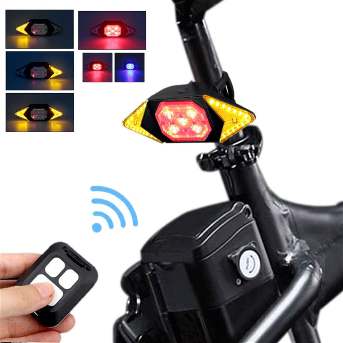 Bike Bicycle Tail Light Smart Wireless Remote Control Turn Signal Warning Lamp