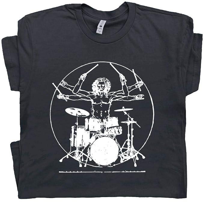 acf9b17d2 M - Da Vinci Drums T Shirt Rock Drummer Set Tee Musician Band Drumming  Guitar Gift