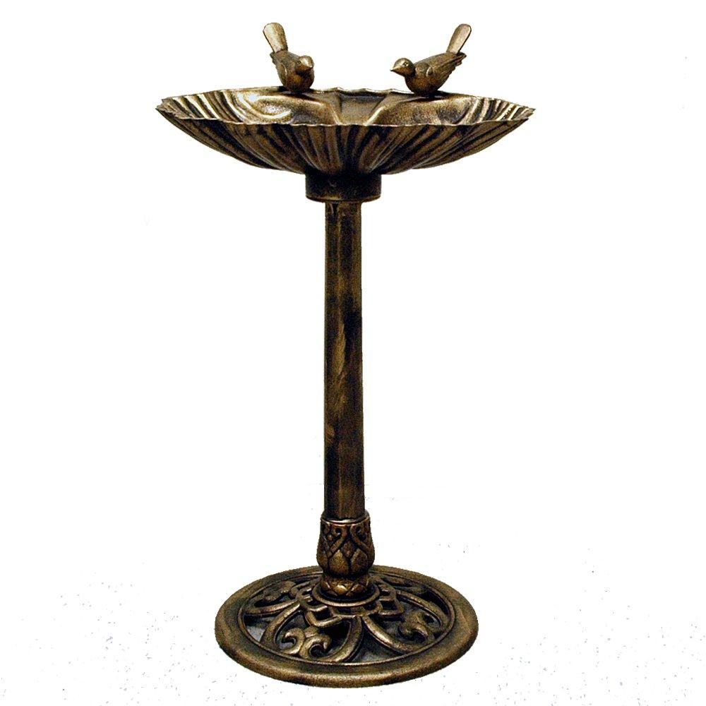 GIL 2200230 31.5InH Bronzed Resin Birdbath Spring, 19.69InL x 19.69InW x The Gerson Company