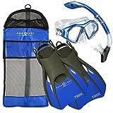 Aqua Lung Sport Aqua Lung Admiral Mask Fin Dry Snorkel Set with Snorkeling Gear Bag