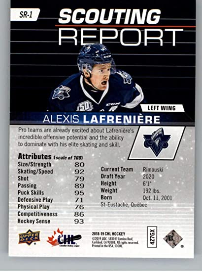 2018-19 UD CHL Scouting Report Hockey #SR-1 Alexis Lafreniere Rimouski Oceanic Official Canadian Hockey League Trading Card From Upper Deck