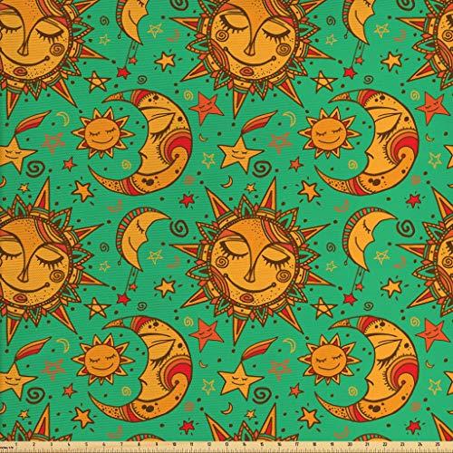Lunarable Sun Moon Fabric The Yard, Celestial Pattern Tribal Inspirations Stars Faces, Decorative Fabric Upholstery Home Accents, 1 Yard, Sea Green Orange Marigold
