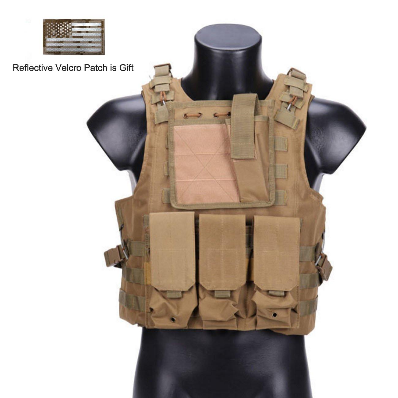 Hannah fit Tactical Molle Airsoft Vest Paintball Combat Soft Vest Tan by Hannah fit