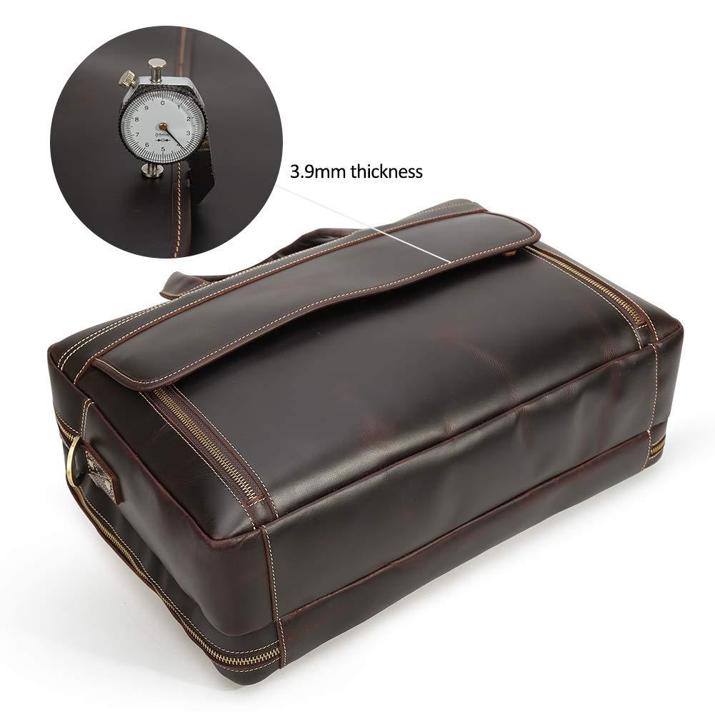 Vints Hommes R/étro Cuir de buffle Ordinateur portable 17 pouces Sac daffaires Fourre-tout Sac d/épaule Ancien marron