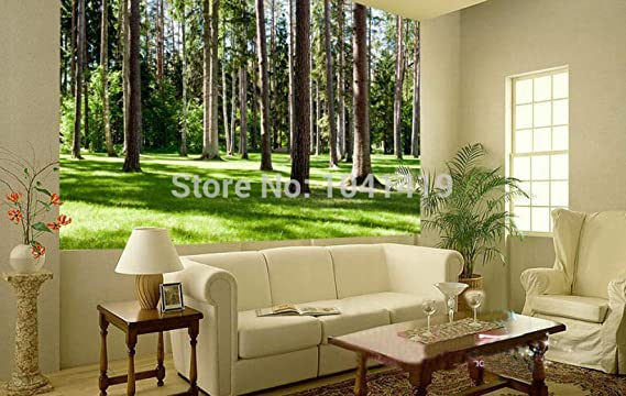 ZAMLE Mural Wallpaper 3D Nature Landscape Green Tree Forests ...