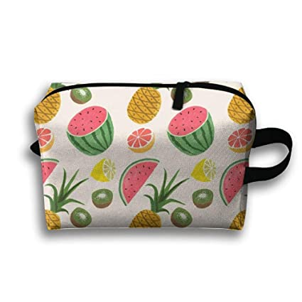 7efb02198 Amazon.com  Travel Cosmetic Bag Portable Handbag Tropical Fruits ...