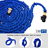 HBlife 150 ft Expandable Lawn Garden Water Hose with 8 Spray Pattern Nozzle - Triple Latex Core, Solid Metal Ends