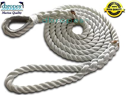1//2 Inch x 15 Ft Three Strand Twisted Nylon Mooring and Docking Line for Boats