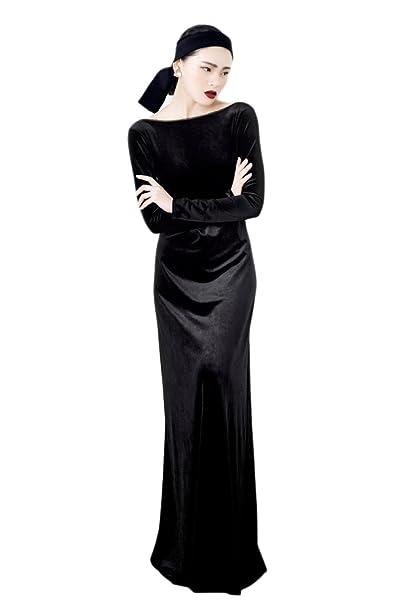Vestido De Manga Larga Vestido De Terciopelo Con Cena Negra De Otoño E Invierno Vestido De