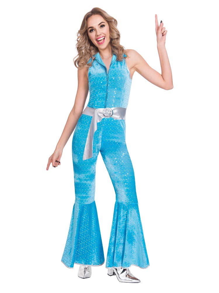 Disco Diva Jumpsuit for 70s Dress-Up in 3 Colours, Sizes 8 to 20